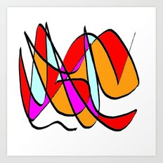 Abstract multicolor red white Art Print