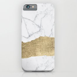 Elegant faux gold foil gray white modern marble iPhone Case