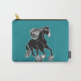 Black & White Horse with Teal Carry-All Pouch