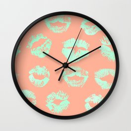 Sweet Life Lips Peach Coral + Mint Meringue Wall Clock