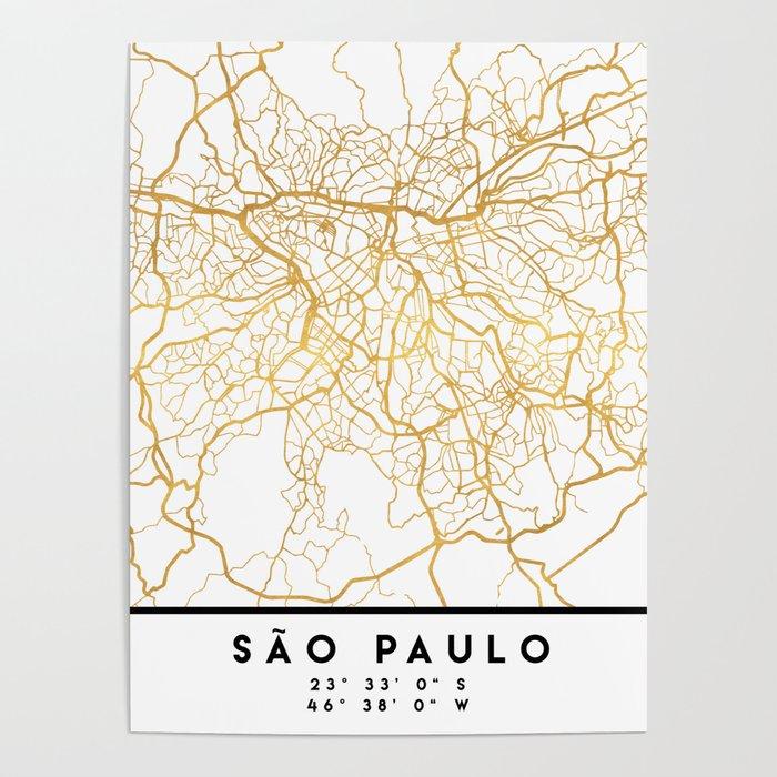 SAO PAULO CITY STREET MAP ART Poster