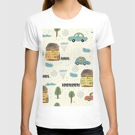 Seamless Pattern with Cute European Houses. Scandinavian Style. T-shirt