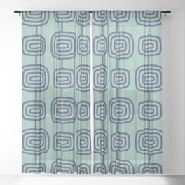 Mid Century Modern Atomic Rings Pattern Turquoise and Blue Sheer Curtain