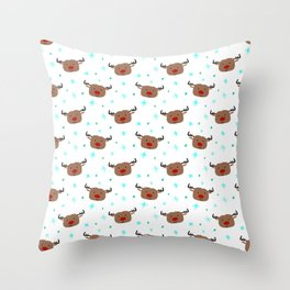Jolly Christmas with Reindeers Throw Pillow