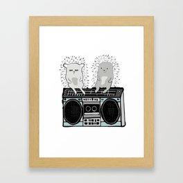 Hedgehogs on Boombox Framed Art Print