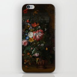 Rachel Ruysch - Roses, Convolvulus, Poppies and other flowers in an Urn on a Stone Ledge (1680) iPhone Skin