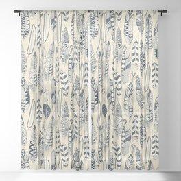 joyful feathers cream Sheer Curtain
