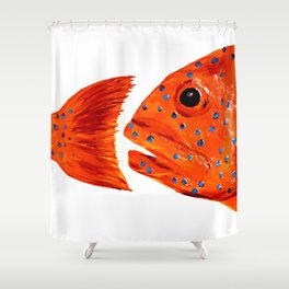 Coral Grouper Shower Curtain