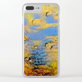 Drops on glass during snowstorm Clear iPhone Case