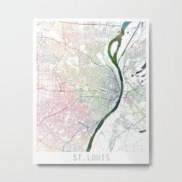 St Louis Map Watercolor by Zouzounio Art Metal Print