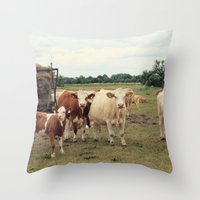 cows Throw Pillows featuring Cows by Falko Follert Art-FF77