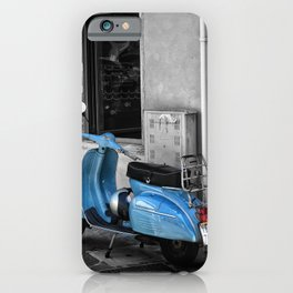 Blue Vespa in Venice Black and White Color Splash Photography iPhone Case