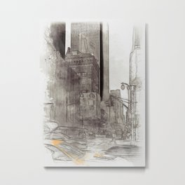 NYC Yellow Cabs Sex City - SKETCH Metal Print
