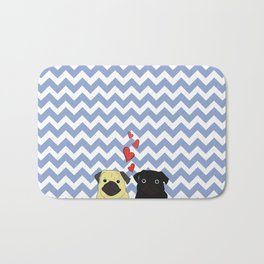 Chevron Pug Bath Mat