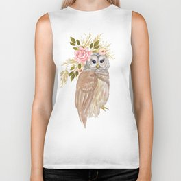 Owl with flower crown Biker Tank