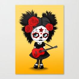 Red and Yellow Big Eyes Sugar Skull Girl Playing the Guitar Canvas Print