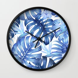 Blue tropical pattern  (monstera leaves and bird of paradise flowers Wall Clock