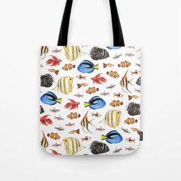 Tropical Fish on White - pattern Tote Bag
