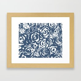 Navy Flower Bundle Framed Art Print