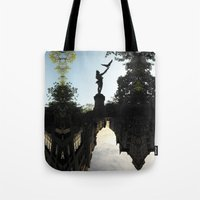 birdman Tote Bags featuring Bavarian Birdman - Upside Up III by Mandy Becker