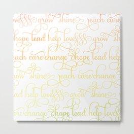 Uplifting Watercolor Words Metal Print