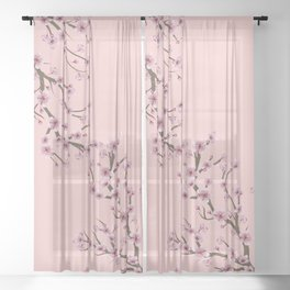 Cherry Blossom Branch Sheer Curtain