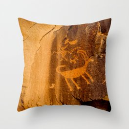 Big Horn Sheep Petroglyph - Nine Mile Canyon - Utah Throw Pillow