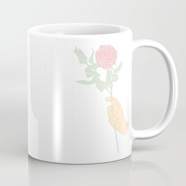 Minimal Hand Holding Rose Illustration Coffee Mug