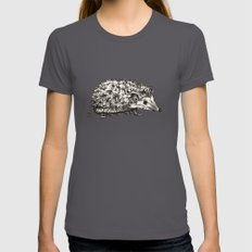 Woodland Creatures: Hedgehog Asphalt SMALL Womens Fitted Tee