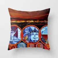 sin city Throw Pillows featuring Sin City by Rishi Parikh