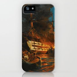 The Burning of a Turkish Frigate iPhone Case