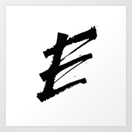 Letter E Ink Monogram Art Print