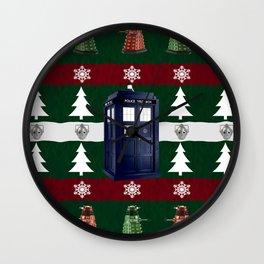 Ugly Christmas Police Box Wall Clock