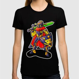Robot Knight with Glowing Sword T-shirt