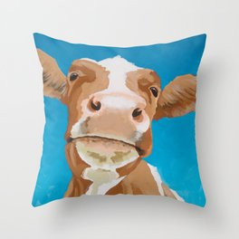 Enid the Contented Cow Throw Pillow