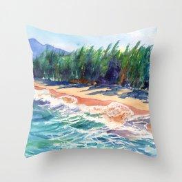 Kauai North Shore Beach 2 Throw Pillow