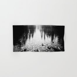 Forest Reflection Lake - Black and White  - Nature Photography Hand & Bath Towel