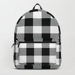 Buffalo Check Black White Plaid Pattern Backpack