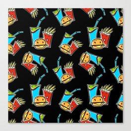 Fun Fast Food (seamless pattern in black) Canvas Print