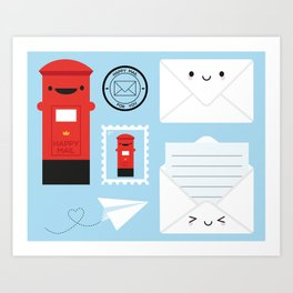 Happy Mail - Kawaii Post Art Print