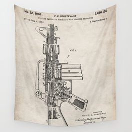 M16 Rifle Patent - Military Rifle Art - Antique Wall Tapestry