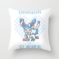 sylveon Throw Pillows featuring 8-Bit Shiny Sylveon by einjelato