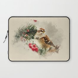 American Tree Sparrow Watercolor Art Laptop Sleeve
