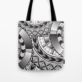 UrbanNesian Black and White Tatau Tote Bag