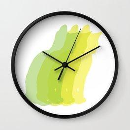 Multiple silhouette cat print - greens Wall Clock