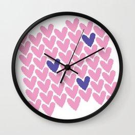 Pink Hearts Grid Wall Clock