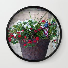 Flowers & Flags Wall Clock