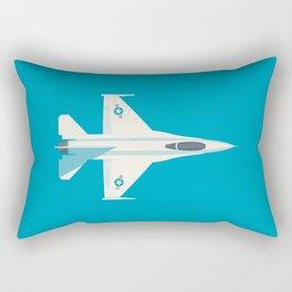 F-16 Falcon Fighter Jet Aircraft - Cyan Rectangular Pillow