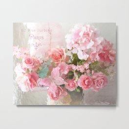 Paris Impressionistic Roses Floral Decor Metal Print