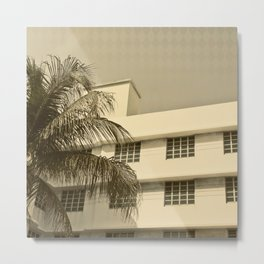 A building and a palm tree in Miami Beach Metal Print